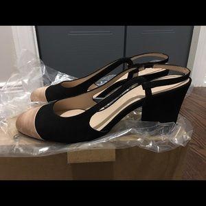 Mango Shoes - MANGO nude-black slingback pumps
